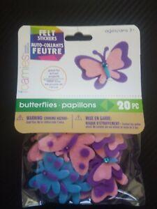 Felt Stickers BUTTERFLIES Darice 20 Pieces peel and stick stickers