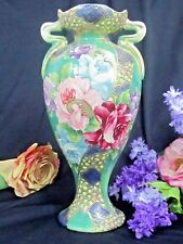 ANTIQUE Nippon VASE early 19thC Moriage JEWELS hand painted HANDLES Large 16 x 9