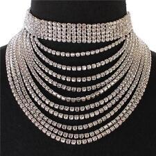 "14"" silver crystal 7.50"" drop choker bib collar necklace bridal prom pageant"