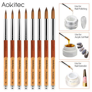 Aokitec Kolinsky Acrylic Nail Brush Oval Sable Wood Handle Polygel Manicure Tool