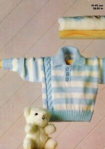 Baby DK Knitting Pattern Collared Sweater Sizes 16 -24 inches #109