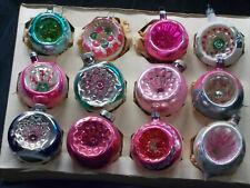12 Antique/Vintage Single Indent Glass Christmas Ornaments, Poland, Shiny Brite