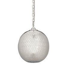 Kugel Pendelleuchte mit Löcher, Retro Hängelampe in Silber, Deckenlicht für E27