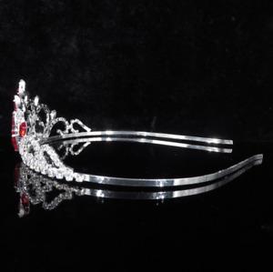 Girl Kids Princess Red Crystal Heart Hair Tiara Crown Veil Headband Birthday