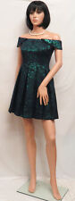 GIANNI BINI Emerald Green & Black Baby Doll Pleated Lewis Dress M NWOT $138