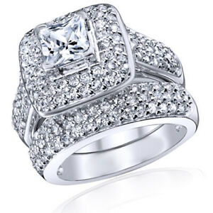 Simulated Diamond Halo Bridal Set Ring 14k White Gold Over Sterling 925