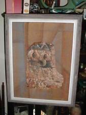 OWL Fine Folk Art JOSEPH H KAHLE Seattle Drift Wood Burlap Vtg Mixed Media DSHS