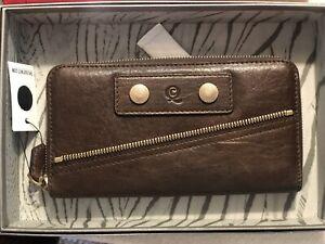 Alexander Mcqueen Brown Studded Wallet Zip Detail Never Used