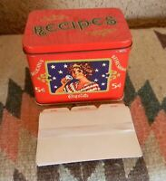 VTG COCA COLA METAL RECIPE BOX 5 CENT REFRESHING COKE TIN WITH CARDS 1980s