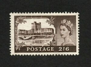 GB QEII 1955 2/6 CASTLE SG536 WATERLOW ST EDWARDS CROWN WMK - MINT NEVER HINGED