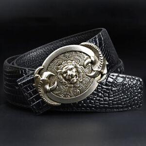 Mens Faux Leather Belt Dragon Tiger Gold Silver Buckle Waist Strap Punk Black