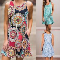 Womens Summer Sleeveless Loose Ladies Boho Maxi Evening Party Beach Floral Dress