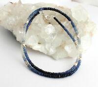 Saphir Kette Echt edelsteinkette blau weiße facettierte Collier 925 Silber Damen