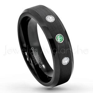 0.21ctw Emerald & Diamond 3-Stone Ring, May Birthstone Ring, Tungsten Ring #168