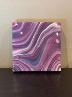 Original Acrylic Resin Fluid Art Painting 6X6 Abstract Art On Stretched Canvas