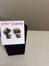$35 Betsey Johnson Mini Jeweled Owl Gold Tone Earrings BTW-9
