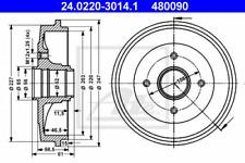 2x Bremstrommel für Bremsanlage Hinterachse ATE 24.0220-3014.1