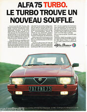PUBLICITE ADVERTISING 065  1986  ALFA ROMEO   ALFA 75 TURBO