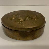 Vintage Brass Oval Egg Shape Trinket Box with Embossed Chicks on Lid