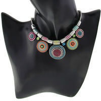 Silver Plated Statement Choker Necklace Bangle Ethnic Vintage Beads Black Pink