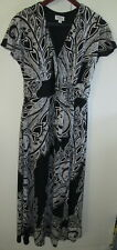 Ladies Millers Size 12 Dress Black White Pattern Lined Cross Over Bust Detail