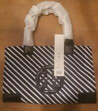 Tory Burch Ella Navy Stripe Mini Nylon Logo Tote Bag orig price $198 NWT