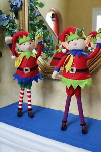Set OF 2 STANDING ELVES Elf with PRESENTS Gift Package Christmas RAZ