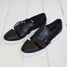 Topshop Cut Out Black Brogues, Size 6, Black Lace Up Flat Shoes