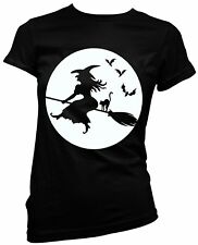 Halloween Witch broomstick full moon black cat ladies fitted t shirt fancy dress