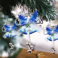 Merry Christmas Tree Hanging Jingle Bell Bow Pendant Flower Xmas Ornaments Decor