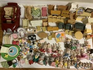 HUGE LOT of Calico Critters Animals Figures Furniture Accessories Car