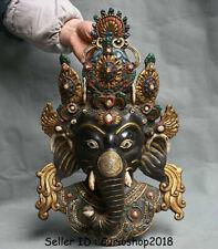 "14.4"" Old Tibet Bronze Painting Ganesh Lord Ganesha Elephant God Buddha Statue"