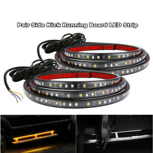 "2pcs Car 70"" Running Board Side Step LED Light Amber White Turn Signal DRL Light"