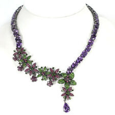 REAL AMETHYST CHROME DIOPSIDE RUBY RHODOLITE STERLING 925 SILVER NECKLACE 15.75