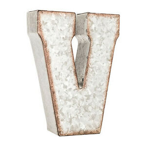 """LETTER V - 7"""" Rustic Metal Farmhouse Alphabet Sign CREATE ANY WORD! - 21 COLORS!"""