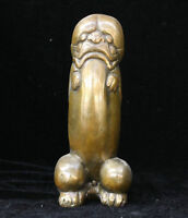 Chinese FengShui Bronze copper Evil Spirits Lion Beast Head Male Genitals Statue
