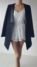 Lace/embroidered Tailored Blazer coat black mid length cocktail jacket split end