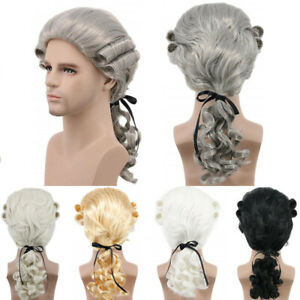Baroque Curly Male Synthetic Wigs Lawyer Judge Colonial Historical Cosplay Wigs