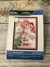 """New Bucilla Bleeding Hearts Counted Cross Stitch Kit 5"""" x 7"""" Floral Vintage"""