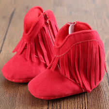 Infant Baby Boy Girls Toddler Moccasin Tassel Soft Sole Shoes Boots 0-12M US