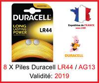 8 Piles LR-44 / AG13 / A76 / V13GA  DURACELL Bouton Alcaline 1,5V DLC 2019