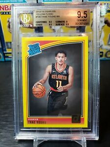 2018-19 Donruss Yellow Flood Rookie Trae Young BGS 9.5 Pop 9, 1 Higher, SP RC