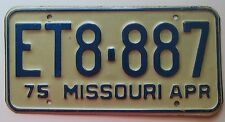 Missouri 1975 License Plate HIGH QUALITY # ET8-887