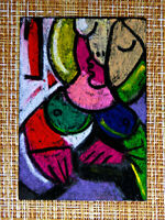 ACEO original pastel painting outsider folk art brut #010385 abstract surreal