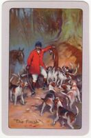 Playing Cards 1 Single Swap Card - Old Vintage THE FINISH Fox Hunting Horse Dog