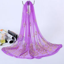 Hot Women Peacock Floral Long Scarf Chiffon Neck Wrap Sheer Shawl Stole Scarves