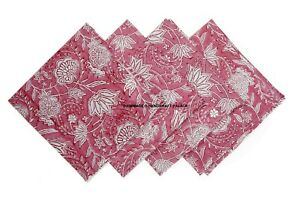 Beautiful Handmade 100% Cotton Kensington Block Print Napkin Table Linen 4 PC's