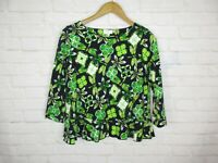 Crown and Ivy women's size S Green and Navy Dragonfly Peplum 3/4 Sleeve Top