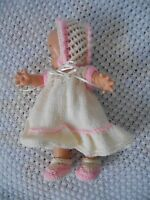 """Doll Clothes Hand-knit Cream-pink Dress Fits Kewpie Cameo, Asthon Drake 10"""" 12"""""""