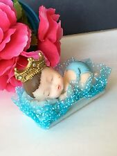 1PC Baby Shower King Boy Blue Cake Topper Decorations Figurines Party Favors